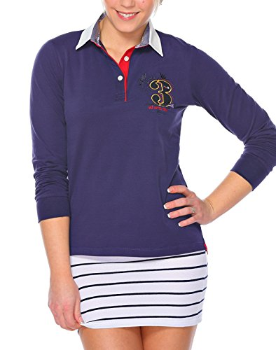 M.Conte Damen Poloshirt Polo-Sweat Sweatshirt Langarm Montserrat Blau M -
