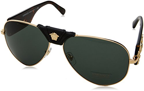 Versace Herren 0VE2150Q 100271 62 Sonnenbrille, Gold/Grey Green