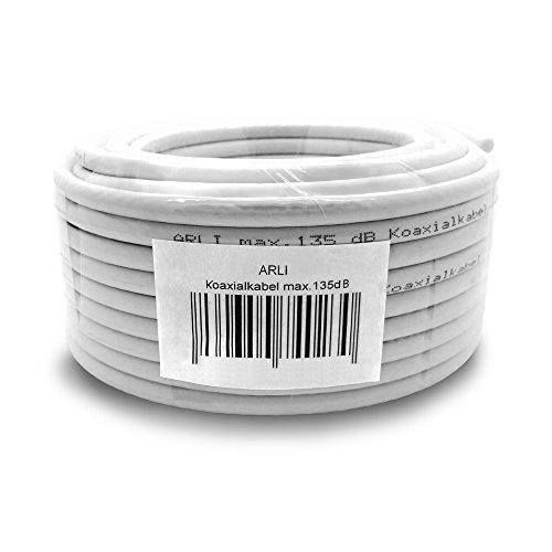 HD Sat Kabel 50 m Koaxialkabel 135 dB Koaxial 5 fach geschirmt Satkabel TV Antennenkabel Koax DVB-S2 DVB-C2 DVB-T2 BK 4K 50m ARLI Hd Koax Kabel