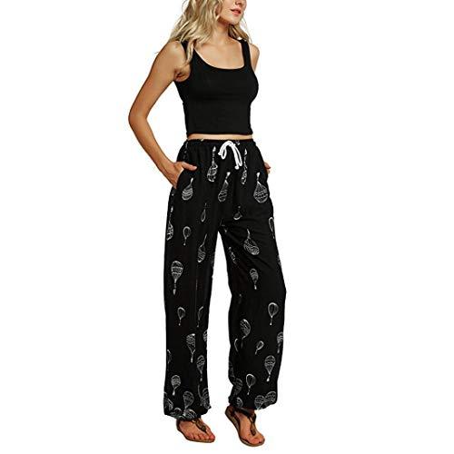Damen Mitte-Taille beiläufige Blumendruck Boho Yoga Hosen Pluderhosen Jogger Hosen-Damen Haremshose Hippie Hose-Damen Hose- Print Hosen-hip up Sporthosen, Gym Pants(Schwarz,S)