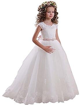 KekeHouse® manga corta vestido de niña de las flores de tul vestido de encaje de cumpleaños vestido de primera...