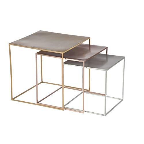 Générique Set de 3 Tables gigognes en métal Argent/cuivre/Or