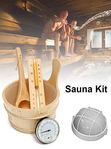 soundwinds Saunazubehör-Set, hölzerner Saunakübel mit Schöpfkelle Sanduhr Saunathermometer Sauna Explosionsgeschützte Lampe Saunalöffel 5 STÜCKE Saunadampfbad-Zubehör