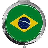 """metALUm - Extragroße Pillendose in runder Form""""Flagge Brasilien"""" preisvergleich bei billige-tabletten.eu"""