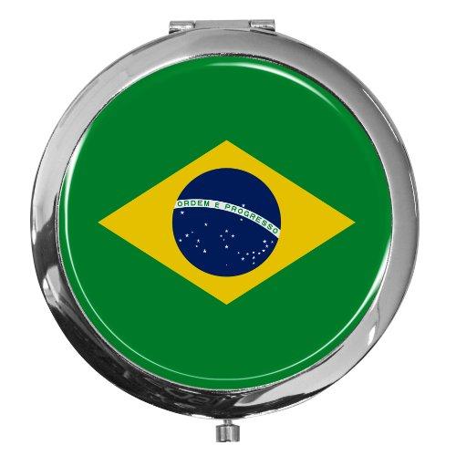 Miroir de poche / Drapeau le Brésil / Double agrandissement