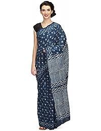 The Weave Traveller Handloom Hand Block Printed Ajrak Cotton Women Saree With Blouse (Grey, TWT_C_BRWNAJRAK_137)