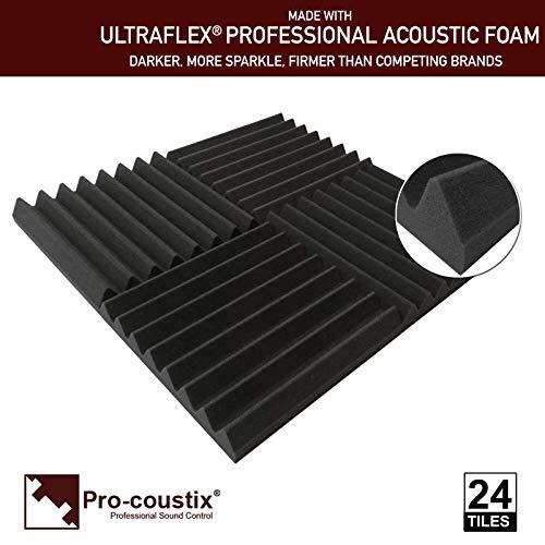 Pro-coustix Ultraflex Paneles de espuma acústica de gran calidad, 24 unidades