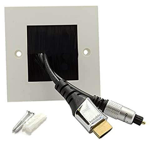 Exit/Wall Outlet UK Single Gang Faceplate Brush for Cable - White/Black