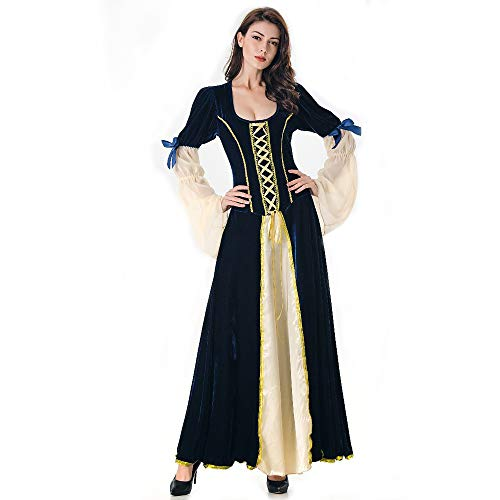 GHH Halloween-Kostüm Für Frauen Erwachsene Cosplay Magic Hexe Dress Up Hexen Kleid Langen Kleid Court Queen Kostüm,Black