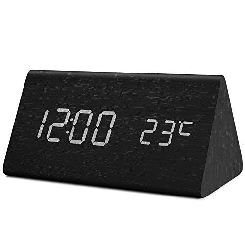 Fomobest LED Wecker Wiederaufladbar Holz Tischuhr Klein Standuhr Datum/Temperatur Anzeige Digital Wecker Schwarz