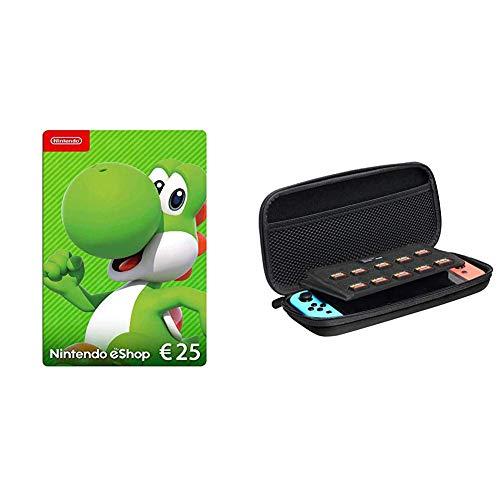 Nintendo eShop Card | 25 EUR Guthaben | Download Code & AmazonBasics - Tragetasche für die Nintendo Switch - Schwarz