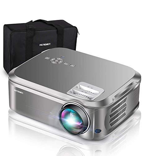 """HUREMER Beamer, 6500 Lumen Full HD Native 1080P Beamer, Video Projektor Heimkino Mit 200"""" Display,Unterstützt HDMI,USB,VGA,TV Stick,Xbox,Laptop,Phone,Computer für Haus, Büro, Unterhaltung im Freien"""
