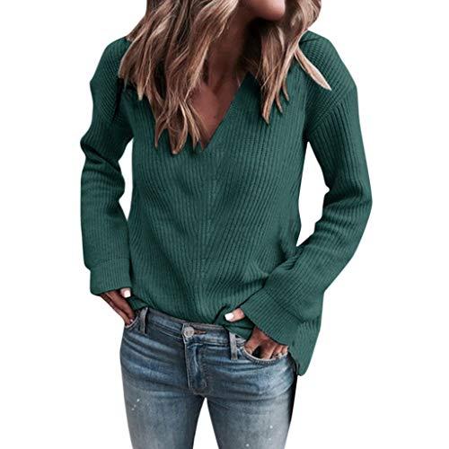 GOKOMO Schöne Damen Langarm einfarbig V-Ausschnitt Pullover Top(Grün,Medium)