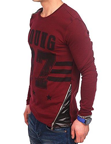24brands Herren Swag Langarm Shirt Sweatshirt Pullover Pulli T-Shirt mit Sport Druck Kunstleder-Details und optischen zipper 3025 Weinrot