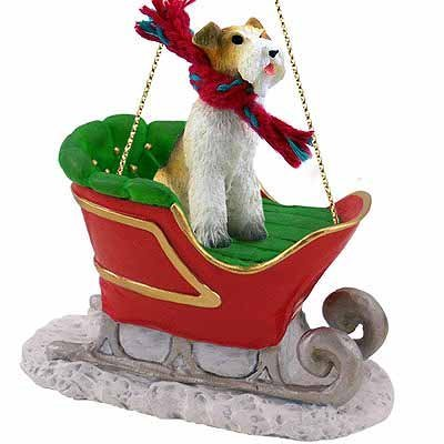 Wirehaired Fox Terrier Sleigh Christmas Ornament by Conversation Concepts