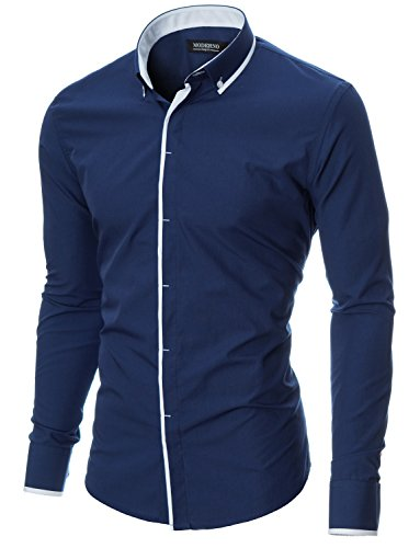 MODERNO Herren Hemd Slim Fit Casual Langarm Button Down Kragen (MOD1445LS) Blau