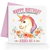 Personalised Watercolour Girls Unicorn Birthday Card Any Age, Relative & Message