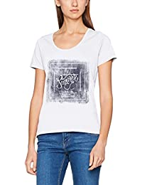 s.Oliver 14705324503, T-Shirt Femme, White Placed Print 01D2, 42