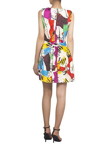 iB-iP Femme Ajustement De Cavalier Abstrait Imprimé Col R Mini Robe Type Tulipe Beige