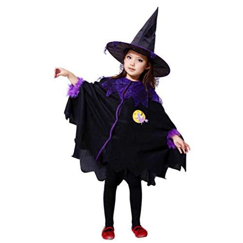 (Rosennie Halloween Karneval Party Kleinkind Kostüm Kleid Mantel + Hut Outfit Fasching Kleid mit Lace up Cosplay Set Minikleid Mädchen Kleider für Kinder Baby Mädchen Halloween Kleidung (Schwarz, 150))