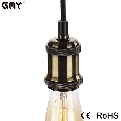 Gmy® Portalampada Rame Retro antico Edison luce ciondolo In ottone massiccio Luce Socket, Vintage industriale Lampade a sospensione, 110-240 V fino a 60W E27