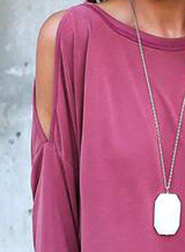 ACHICGIRL Women's Stylish Cold Shoulder Long Sleeve Backless Blouse Deep Blue