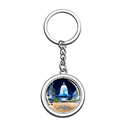 Schlüsselbund Wisconsin State Capitol Madison Vereinigte Staaten USA US Schlüsselbund Kristall Drehen Rostfreier Stahl Schlüsselbund Andenken Schlüsselanhänger