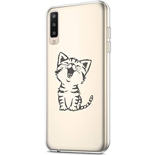 Kompatibel mit Schutzhülle Galaxy A50 Hülle Durchsichtig mit Kunst gemaltes Design Muster Transparent TPU Silikon Handyhülle Durchsichtige Schutzhülle Case Crystal Clear Case Tasche,Lachende Katze -