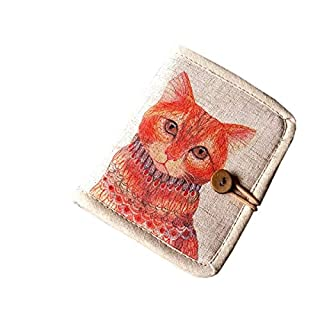 ACVIP Women's Flower Print Cotton Linen Bifold Wallet Mini Purse (Cat-3)