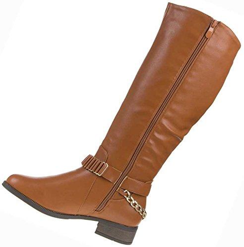 Stiefel Damen Schuhe SCHNALLEN KETTEN BOOTS Schuh 36 – 41 Camel