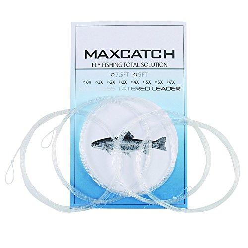 Maxcatch, Bajo de línea cónico con lazo para pesca con mosca de 274,32 y 228,6 cm. 5 piezas (0X-7X) (9ft/22,86cm, 4 x (5 piezas))