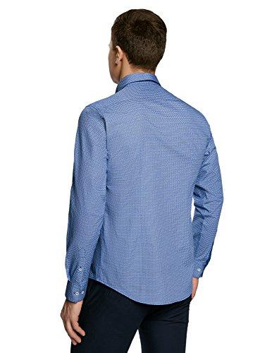 oodji Ultra Herren Tailliertes Hemd mit Knöpfen am Kragen Weiß (1075F)
