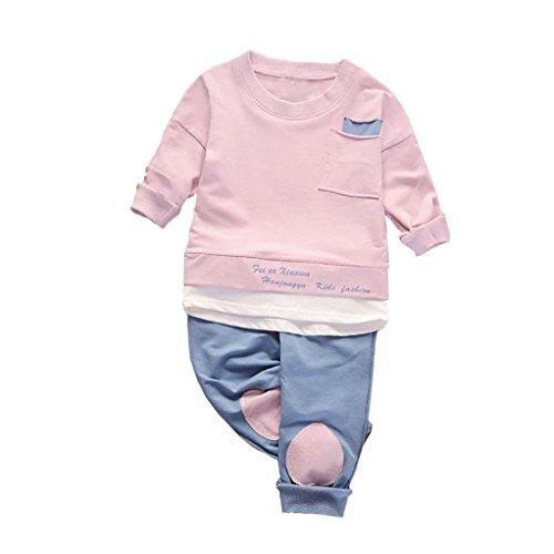 Top-Qualität LCLrute 6M-3T Neugeborenes Lovely InfantBaby Kinder Mädchen Jungen Tops Shirt Hosen 2Pcs Set Anzug Outfits Kleidung (Rosa, XL)