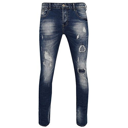 Wash Designer Jeans (Men's Spray Skinny Busted Knee Stone Wash Blue Black Designer Jogger Jeans)