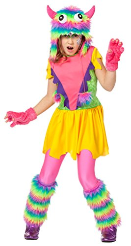 Kostüm buntes Monster Regenbogen Kind-er Karneval Halloween Fantasy Märchen Mädchenkostüm inkl. Plüschmütze Größe 104 (Regenbogen Monster Kostüme)