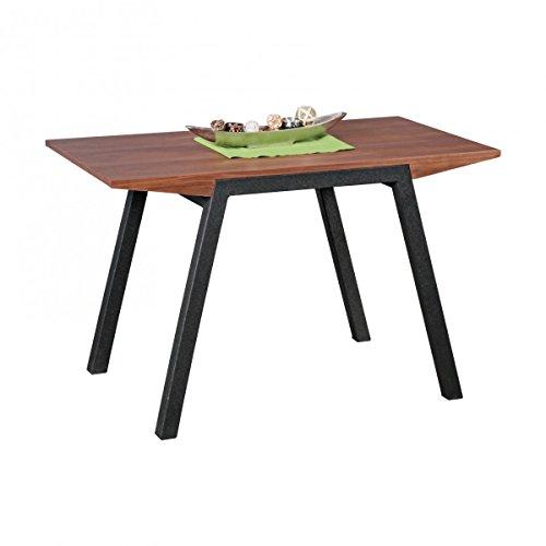 WOHNLING Esszimmertisch 120 x 76 x 70 cm aus MDF-Holz | Eckiger Esstisch in Walnuss-Optik | Robuster Küchen-Tisch in dunkelbrauner Farbe | Esszimmermöbel in modernem Design | Untergestell aus Metall