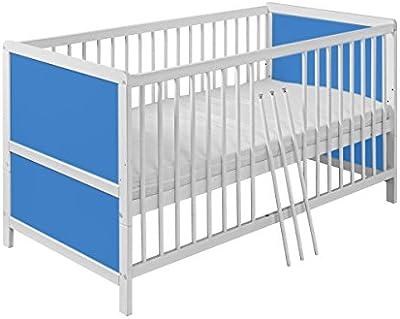 Cuna bebé de madera de pino 140cm x 70 cm color blanco con azul SIMPLE. Cuna convertible. Incluye COLCHÓN. ENVÍO GRATIS