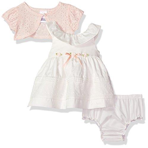 Entzückendes Baumwoll-Kleid in ivory + Bolero in rosa + Windelhöschen von Youngland Größe 68 (Kleid Youngland)