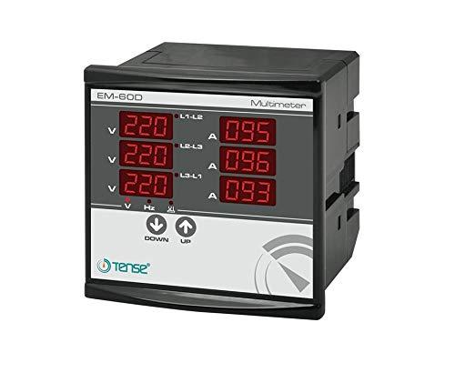 Tense EM-60D Einbaumessgerät Multimeter zur Messung von Strom (1A-100A), Spannung und Frequenz in 3-Phasigen Netzwerken - Für Schalttafel und Fronteinbau