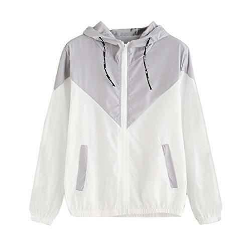 Damen Hoodies,KIMODO 2019 Frauen Langarm Patchwork Dünne Skin Suits Mit Kapuze Reißverschluss Taschen Sport Mantel (Grau, S)