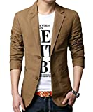 Mens Slim Fit Single Breasted Blazer 2 Button Cotton Casual Jacket 3 Colors