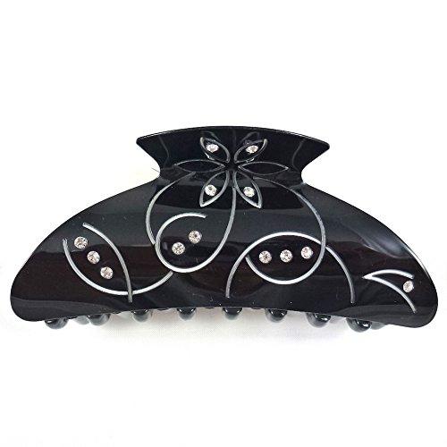 rougecaramel - Accessoires cheveux - Pince cheveux motif arabesque et incrustée de cristaux - noir