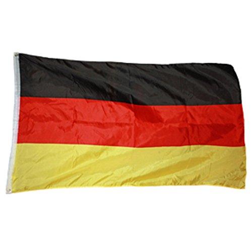 Deutschland Fahne 90 x 150 cm EM Flagge aus Stoff mit doppelt umnäht mit 2 Messing-Ösen zum hissen am Fahnenmast, Wind- und Wetterfest, Fanartikel Europameisterschaft 2016