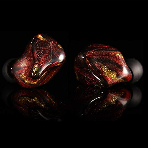 Linsoul Peacock Audio P1 Dynamic HiFi In-Ear Earphones, Custom Hand Made Earbuds for Audiophile DJ Musician with Detachable 2Pin 0.78mm Cable (5-Flame)