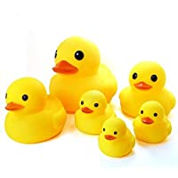 Novelty Place [Float & Squeak Six Rubber Duck Family Pack Ducky Baby Bath Toy for Kids (Pack of 6)