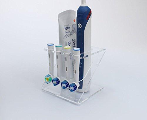 Porta testine per spazzolino elettrico, supporto per 4 testine (colori assortiti) clear