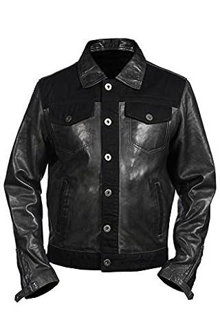 Les hommes camionneur occasionnel cuir Nappa gris Shirt Jean Jacket M