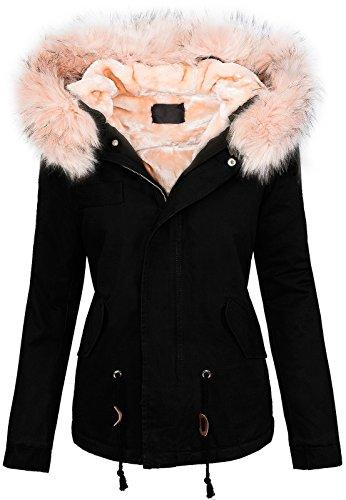 Damen winter jacke damen parka vintage jacke warm kapuze XXL-kunstfell D-223 Schwarz-Rosa
