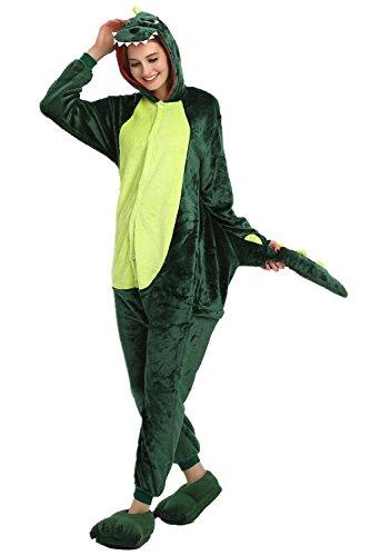 afanzug Dinosaurier Pyjamas Tier Overall Karikatur Neuheit Jumpsuit Kostüme für Erwachsene Kinder Weihnachten Karneval Cosplay (X-Large, Grün) (Dinosaurier Weihnachten)