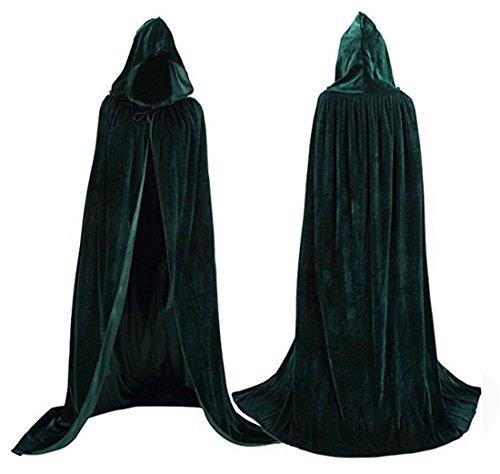 Flywife Damen Samt Kapuzenmantel Halloween Kostüme Kapuzenpulli Kap Mittelalterliches Cosplay Cape (Dunkelgrün)
